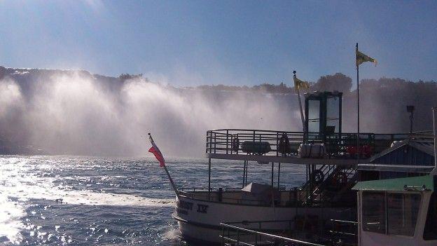 Coté USA et Canada vous pouvez prendre le bateau pour découvrir les Chutes du Niagara photo blog voyage tour du monde https://yoytourdumonde.fr