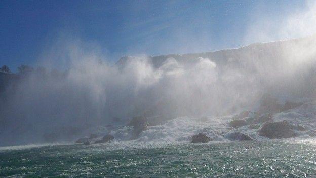 Les Chutes du Niagara comme si vous etiez dedant grace aux bateaux qui entre presque devant photo blog voyage tour du monde https://yoytourdumonde.fr