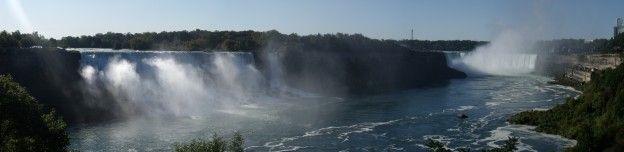 Un panorama photo des chutes du Niagara coté canadien photo blog voyage tour du monde https://yoytourdumonde.fr