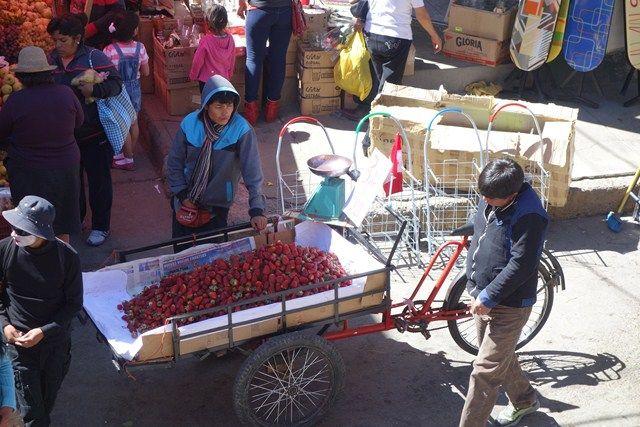 Peru-Huaraz: Pedro en pleine action avec la vente de fraises.