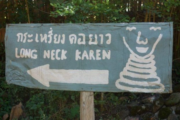 Sign that indicates the village where the Women with the Long neck can be found.