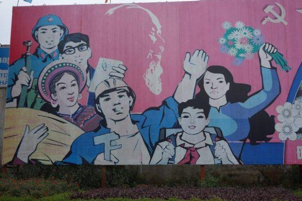 Hanoi-Vietnam: Voici l'une des affiches de propagandes placardaient dans les rues d'Hanoi.