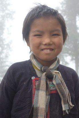 Portrait d'un enfant près de Sapa dans le Nord du Vietnam.