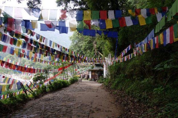 Chemin remplie de drapeaux tibetains et bouddhistes sur le Lac sacré de Khecheopalri au sikkim photo blog voyage tour du monde https://yoytourdumonde.fr