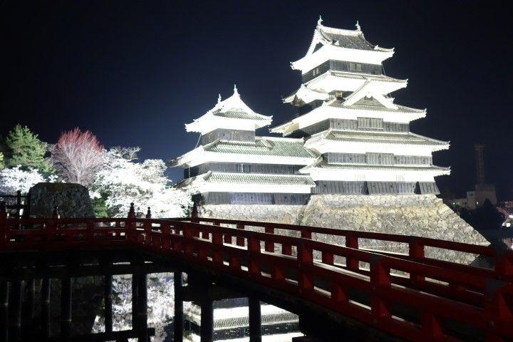 En avril avec les cerisiers le chateau de Matsumoto est d'une beauté incroyable. Photo blog voyage tour du monde https://yoytourdumonde.fr