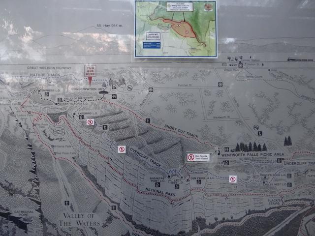 Panneau du trek et randonnée du parc des blue mountains photo blog voyage tour du monde https://yoytourdumonde.fr
