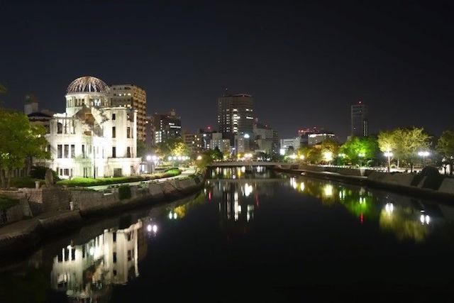 Hiroshima de nuit photo blog voyage tour du monde http://yoytourdumonde.fr