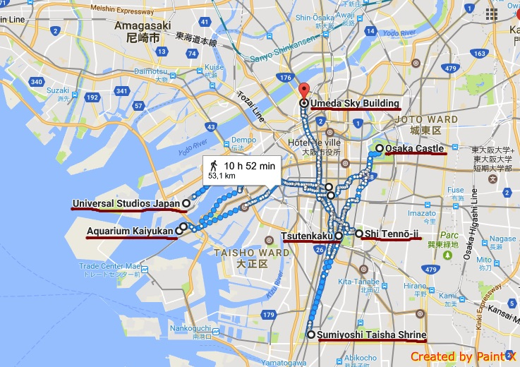 carte des sites à faire et à voir à Osaka photo blog voyage tour du monde https://yoytourdumonde.fr